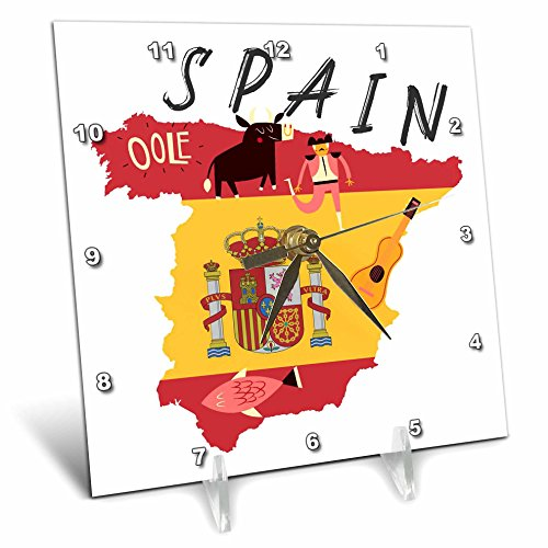3dRose TNMGraphics Countries - Map of Spain With Flag and Icons - 6x6 Desk Clock (dc_286294_1) by 3dRose