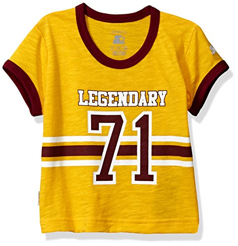 Starter Girls' Short Sleeve Disco Legendary Stripe Vintage Logo T-Shirt, Prime Exclusive, Team Yellow, M (Yellow Kids Ringer T-shirt)