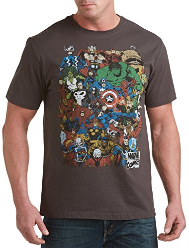 Marvel Retro Group Big & Tall Short Sleeve Graphic T-Shirt (5XL, Graphite)