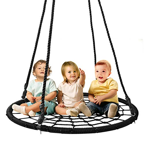 ZENY 40 Kids Spider Web Tree Net Swing Round Spider Net Swing Platform Set with Adjustable Hanging Ropes Kits,Great for Tree,Playground,Playroom,Backyard (40 Swing)