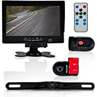 Pyle  Dash Cam Car Recorder - Front & Rear View Camera 7 Inch Monitor Windshield Mount Full Color HD 1080p DVR Video Security Camcorder for Vehicle - PiP Night Vision Audio Record Micro SD (PLCMDVR72)