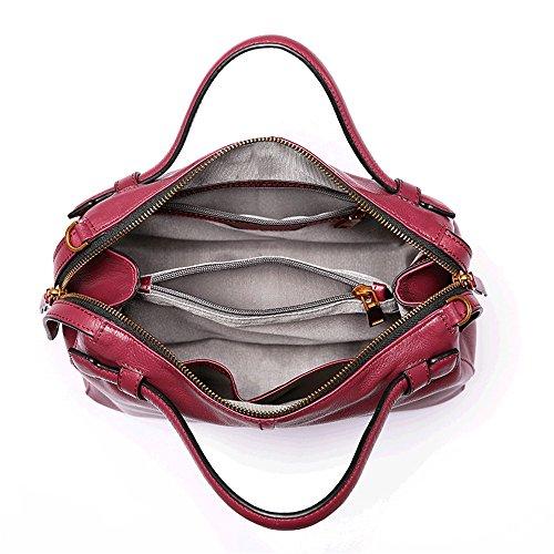 Sunbobo Retro Bag Red Messenger Leather Large Simple Shoulder Shoulder Two Bag Zipper Capacity Wine Straps Square r5qrUwaP