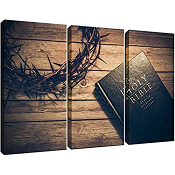 KLVOS - 3 Panels The Christian Bible Painting and Crown of Thorns Posters Religion Pictures for Rustic Home Decor Gift Stretched and Framed Ready to Hang ...