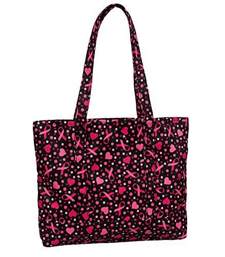 [Prestige Medical Fashion Tote Bags, Ribbons and Hearts Black, 12.2 Ounce] (Ribbon Tote)