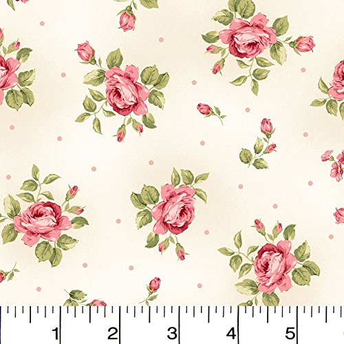 Flannel Welcome Home Floral and Dots Cream Fabric Sold by the Yard (Flannel Maywood Studios)