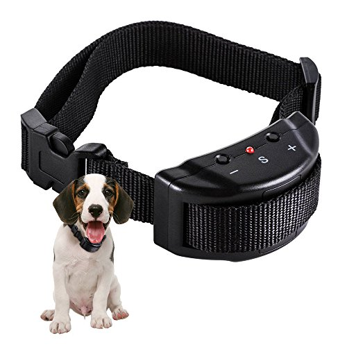 Faciab Bark Collar, Shock Collar for Dogs, 7 Levels Adjustable Sensitivity Control and Safe Dog Training Collar (Black) For Sale