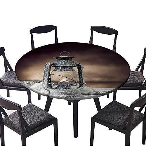 Luxury Round Table Cloth for Home use lamp of Xmas Light in Dark Interior for Buffet Table, Holiday Dinner 63