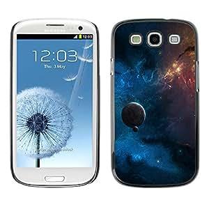 QCASE / Samsung Galaxy S3 I9300 / planeta azul cúmulo estelar galaxia roja espacio amarilla / Delgado Negro Plástico caso cubierta Shell Armor Funda Case Cover