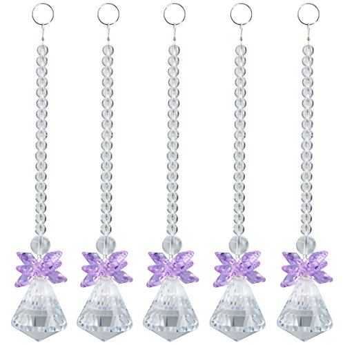 SUNYIK Light Purple Crystal Guardian Angel Ornament Pendant Hanging,Christmas Decoration,Handcrafts Pack of 10 (Purple Angel Ornament)