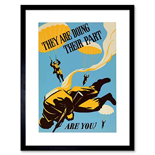 Vintage Ad War WWII Doing Their Part Paratrooper Soldier Framed Wall Art Print 第二次世界大戦