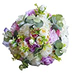 Abbie Home Wrist Corsage for Bridesmaid Purple Orchid Pink Rose Hand Flower Décor on Prom Wedding Party