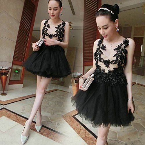 協同ずっとお互いイブニングドレス 黒 刺繍 パーティー レディース 宴会 カラードレス ミニドレス 出演 QBLF0711032