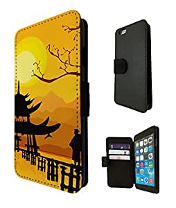 882 - Oriental House Sunset Temple Design iphone 5C Fashion Trend TPU Leather Case Full Flip Credit Card TPU Leather Purse Pouch Defender Stand Cover
