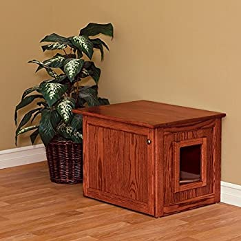 Amish Made Cat Litter Box Enclosure. Solid Wood Construction.