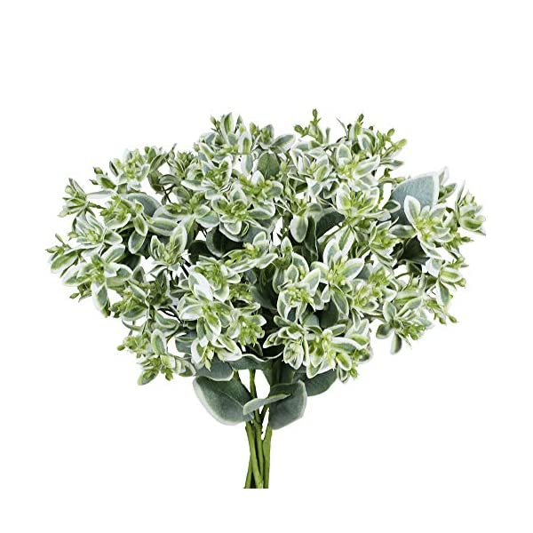 SUPLA Artificial Greenery Euphorbia Marginata Spray Gray Green Floral Stems Eucalyptus Leave Silk Variegated Greenery Branches for Wedding Bouquets Wreath Centerpiece Décor 3 Pack 18″ Tall