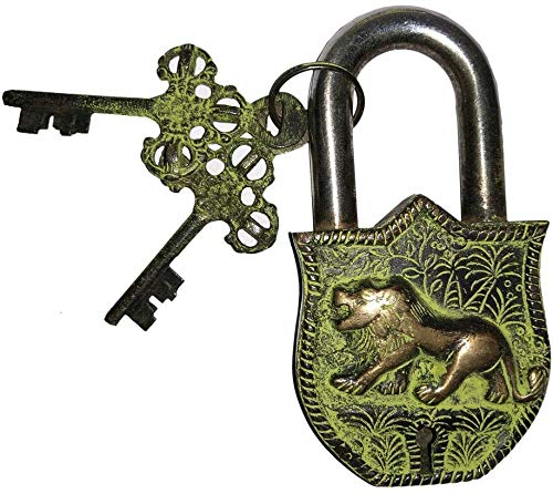 Handmade Antique Lion Design Brass Lock Padlock, Unique Collectible Combination of Style & Security Lock with 2 Keys