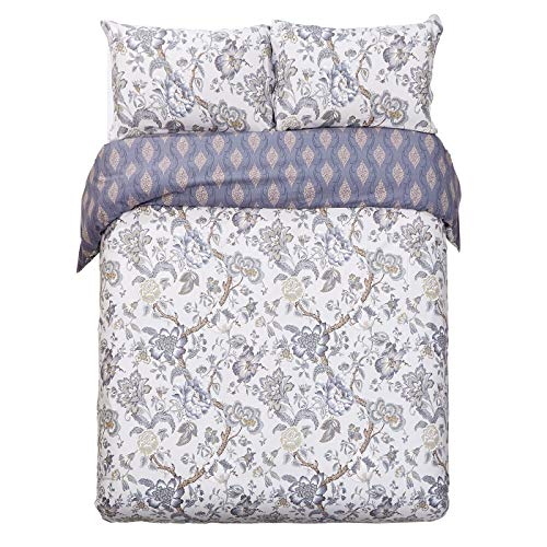 Word of Dream 250TC 100% Cotton Floral Print Duvet Cover Set 3 PC, King, Blossom Pattern