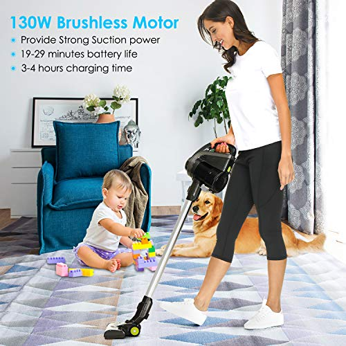 Kranich Cordless Stick Vacuum Cleaner Upright Handheld HEPA Lightweight 130W 11Kpa