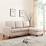 Moderne Livinf Reversible Linen Fabric Sectional Sofa, Beige