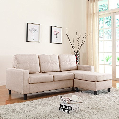 Beige Sectional Couch (Moderne Livinf Reversible Linen Fabric Sectional Sofa, Beige)