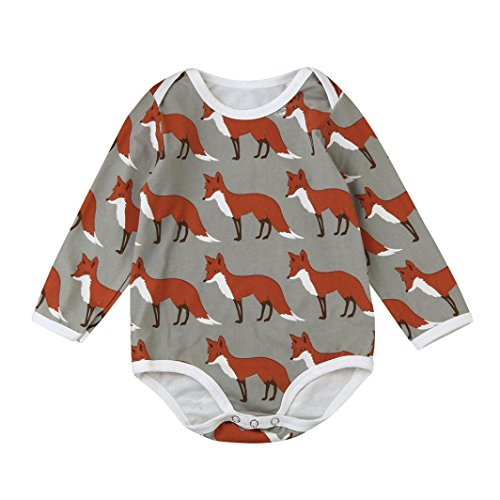 TATGB Baby Boy Fox Print Long Sleeve Animal Clothes Jumpsuit Coffee Color 6-24M -