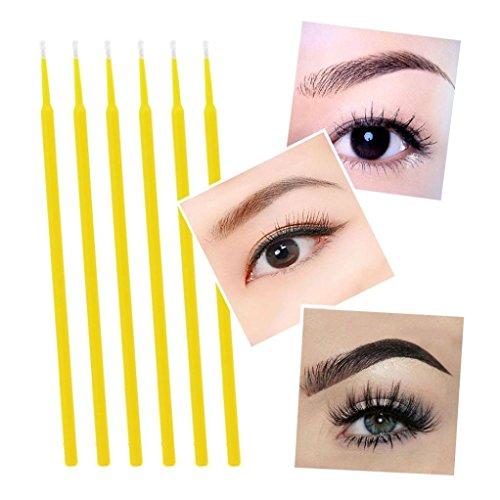 100Pcs Disposable eyelash brushes(Yellow+Black) - 9