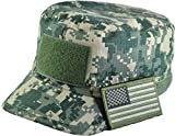 Tactical ACU Digital Camo Military Army Camouflage Adjustable Patrol Fatigue Cap with USA Flag Patch (Multitan)