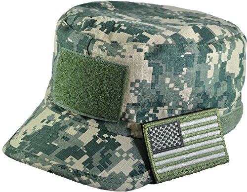 Camo Military Army Camouflage Adjustable Patrol Fatigue Cap with USA Flag Patch (Multitan) (Camouflage Usa Made Fatigue Cap)