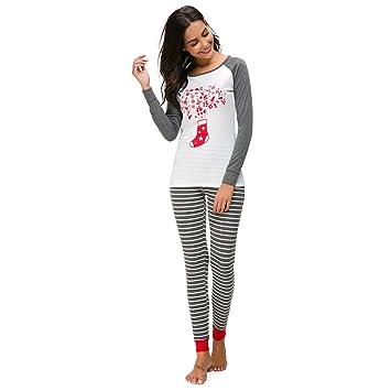 d94d01d36ff conqueror Ensemble de pyjama de Noël pour femmes T-shirt à manches longues  Pantalon Vêtements