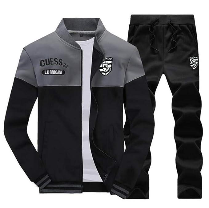 60b9d4213d941 Valoda Men Plus Size Sport Tracksuit Baseball Jacket   Pants Sweat Suit at Amazon  Men s Clothing store