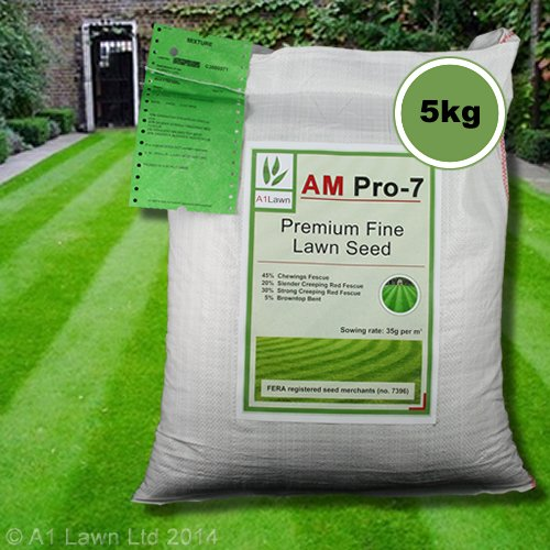 5kg Top Quality Grass Seed / Lawn Seed - (A1LAWN AM Pro-7 Premium Fine Lawn) - covers approx. 142 sq metres - DEFRA registered