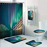 Bathroom 5 Piece Set shower curtain 3d print,Nature Decor,Mystical Northern Lights above Rocky Hills Magnetic Poles Solar Space Panorama,Jade Green,Bath Mat,Bathroom Carpet Rug,Non-Slip,Bath Towls