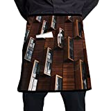 Kjiurhfyheuij Half Short Aprons Art Window Architecture Waist Apron With Pockets Kitchen Restaurant For Women Men Server