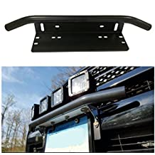 E-cowlboy Universal Bull Bar Style Front Bumper License Plate Mount Bracket Holder For Off-Road Lights,LED Work Lamps, LED Lighting Bars