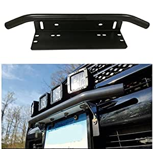 Amazon Com E Cowlboy Universal Bull Bar Style Front Bumper License Plate Mount Bracket Holder