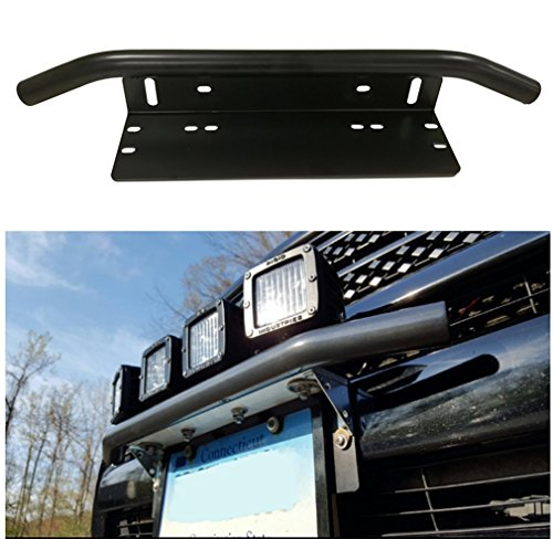 E-cowlboy Universal Bull Bar Style Front Bumper License Plate Mount Bracket Holder For Off-Road Lights,LED Work Lamps, LED Lighting Bars Front Mount Antenna
