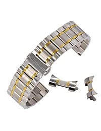 14mm Dual Tone Wrist Watch Strap Replacement Curved End Watch Bands Solid Stainless Steel in Silver&Gold
