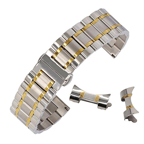Mens Stainless Steel Two Tone Bracelet - 20mm Durable Stainless Steel Band Watch Bracelet with Easy Release Deployment Buckle Two Tone Silver&Gold