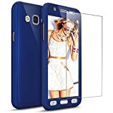 For Samsung Galaxy J3 Case, Galaxy Express Prime / Amp Prime Case with [Tempered Glass Screen Protector], PHEZEN 360 Full Body Coverage Ultra-thin Hybrid Hard PC Protective Case Cover (Dark Blue)