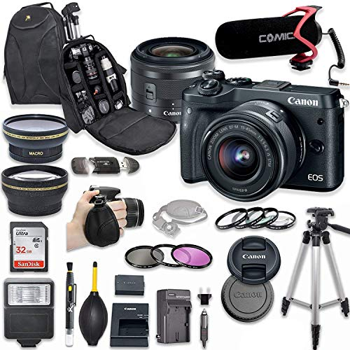 Canon EOS M6 Mirrorless Digital Camera with 15-45mm Lens Kit