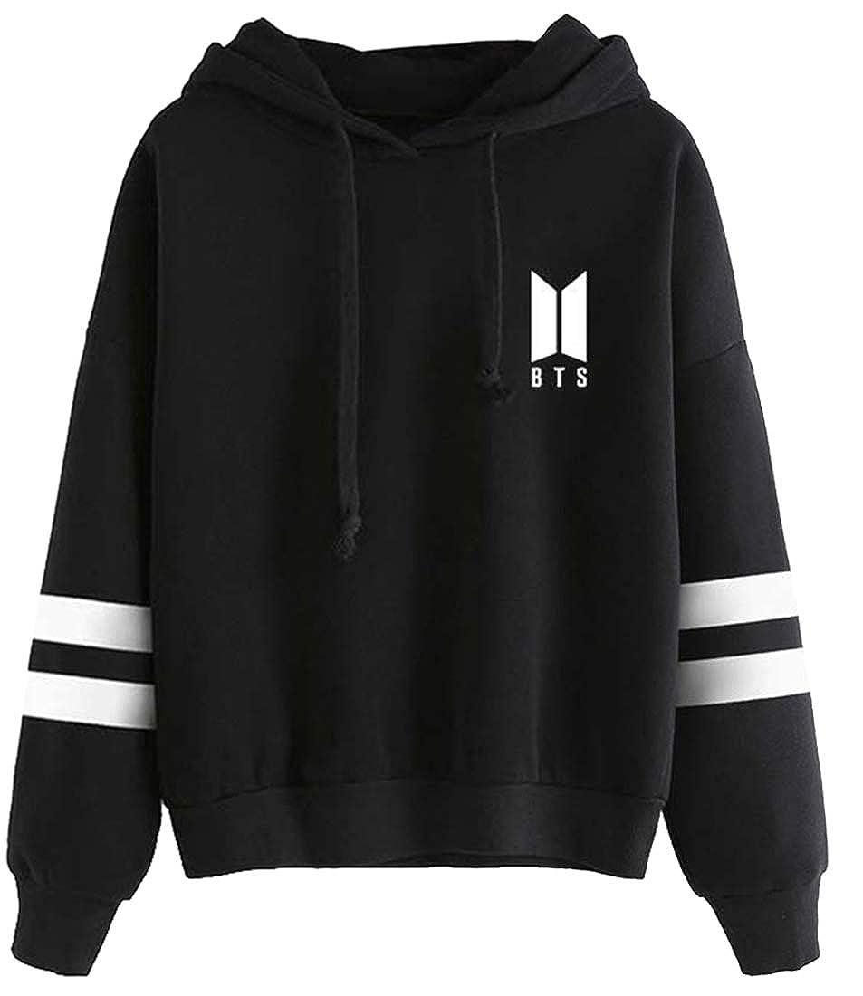 EmilyLe Womens BTS New Logo Hoodie Long Sleeve Jumper Jin Suga J-Hope RM Jimin V Jung Kook
