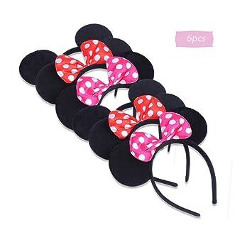 boogift 6 pcs Orejas de Minnie Mickey Mouse Mickey Fiesta de ...