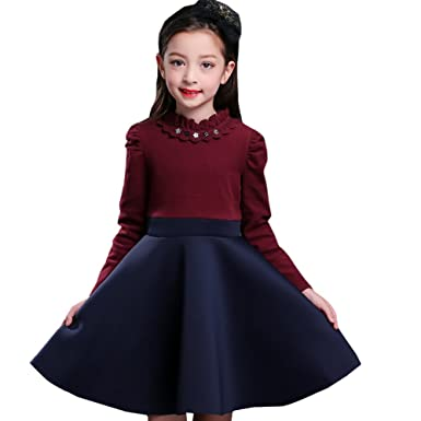 bda67d5825038 秋と冬スカート 裏起毛 厚手 長袖 子供ドレス ピアノ発表会 女の子 ドレス ワンピース