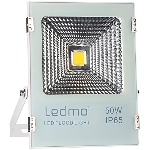 LEDMO 50W LED Flood Light Outdoor,Super Bright Waterproof IP65, 250W Equivalent 4000Lm 6500K Daylight White Floodlight for Garage, Garden, Lawn and Yard Review