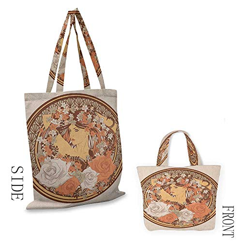 """Tote bag BohoHippie Ethnic Design with Flowers and a women with Hair Standing in the Middle Art Print Brown18""""W x 16""""H"""