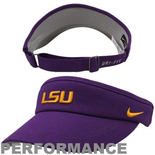 (Nike LSU Tigers NCAA Coaches Sideline Adjustable Dri-FIT Visor (One Size, Purple))