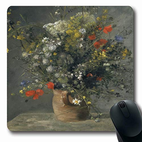 Ahawoso Mousepads for Computers Oil Life Flowers Vase by Auguste Renoir Cut Impressionist Still Floral Painting Design Vessel Oblong Shape 7.9 x 9.5 Inches Non-Slip Oblong Gaming Mouse Pad