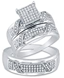 Sizes – L = 8, M = 13 – 925 Sterling Silver Round Diamond Trio Three Ring Set – Matching His and Hers Engagement Ring & Wedding Bands – Micro Pave Square Princess Center Setting Shape (1/3 cttw.) – Please use drop down menu to select your desired ring sizes
