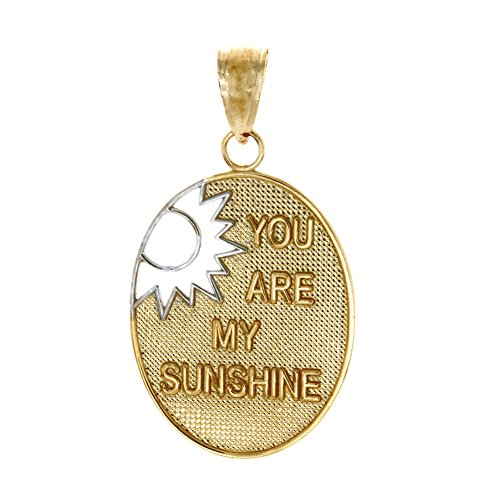 14k Yellow Gold Celestial Charm Pendant, You Are My Sunshine with Cut-Out White Sun (Charm 14k Yellow Sun Gold)