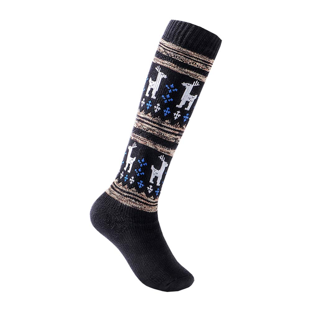 Boys Ski Socks 1 Pack Below Knee High Thicken Cotton Winter Sport Socks Small Black by KALAKIDS (Image #1)
